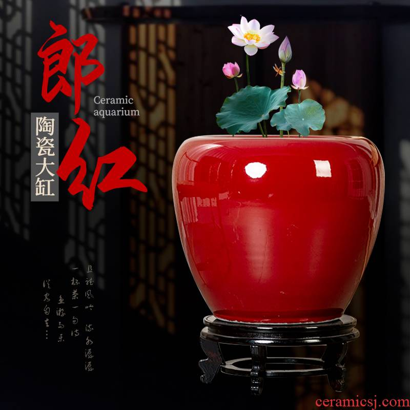Jingdezhen ceramic aquarium ruby red of Chinese style furnishing articles home sitting room more large landscape garden is suing decoration