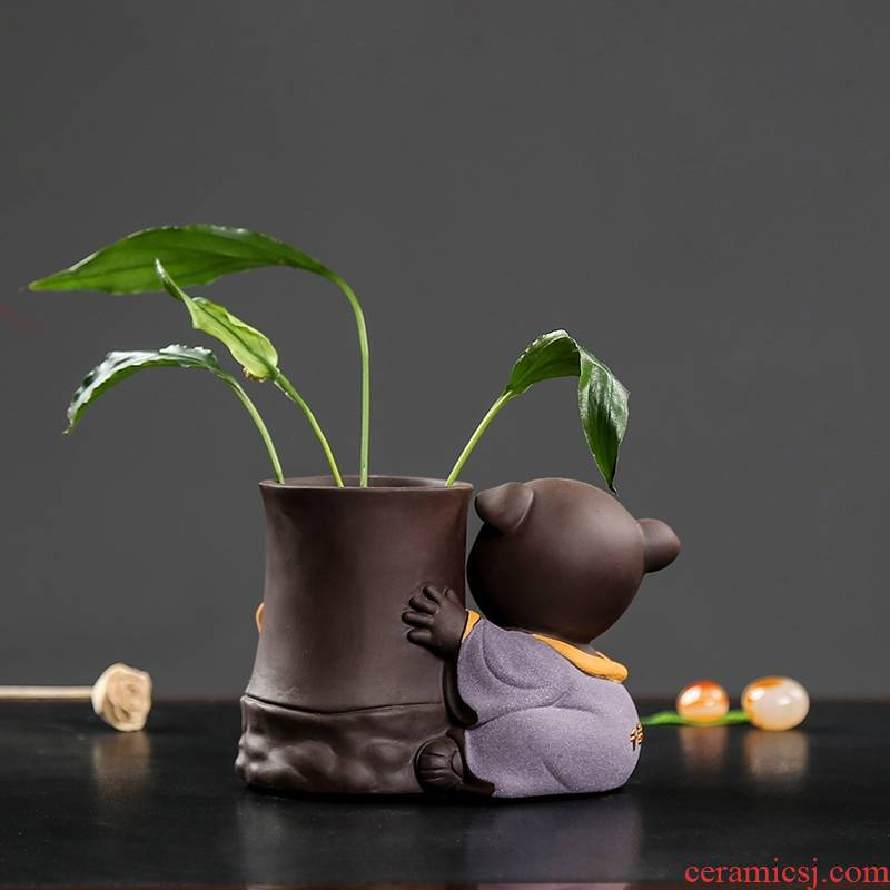 Qiao mu ceramic tea set tea tray parts ceramic tea six gentleman brush pot green plant pot