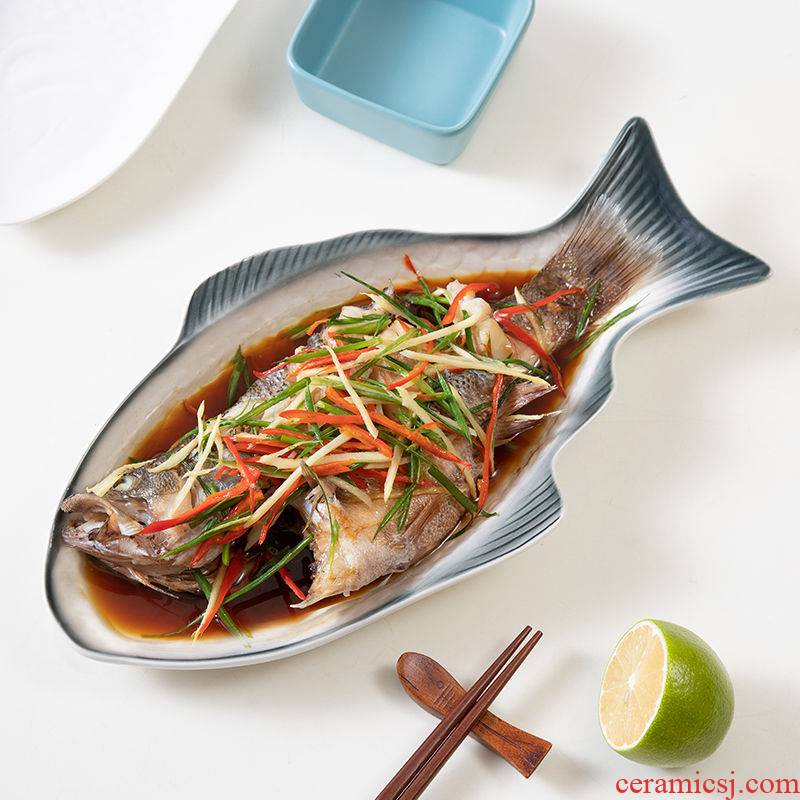 Nordic steamed fish dish fish dishes steamed fish plate plate household creative new ceramic tableware large fish dish
