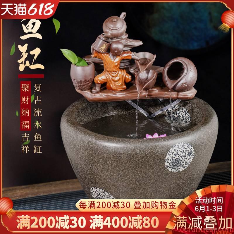 Jingdezhen ceramic goldfish bowl sitting room floor balcony office home furnishing articles circulating water large aquarium