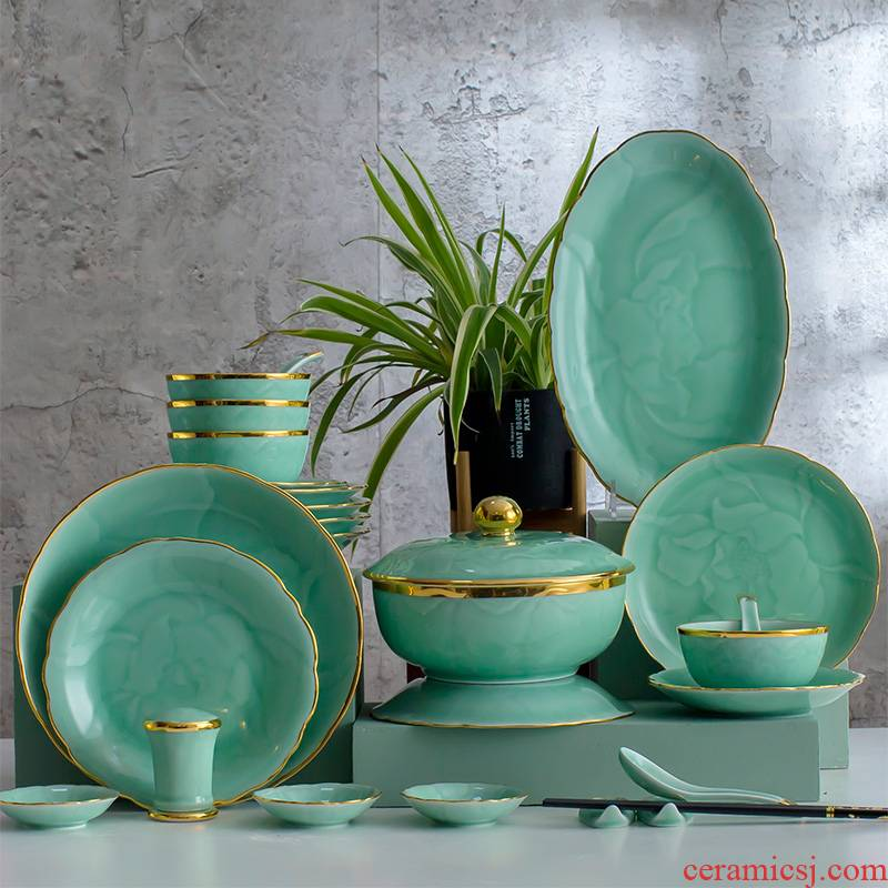 Hand - made celadon dishes Chinese style up phnom penh high - grade celadon dishes of jingdezhen ceramics tableware suit