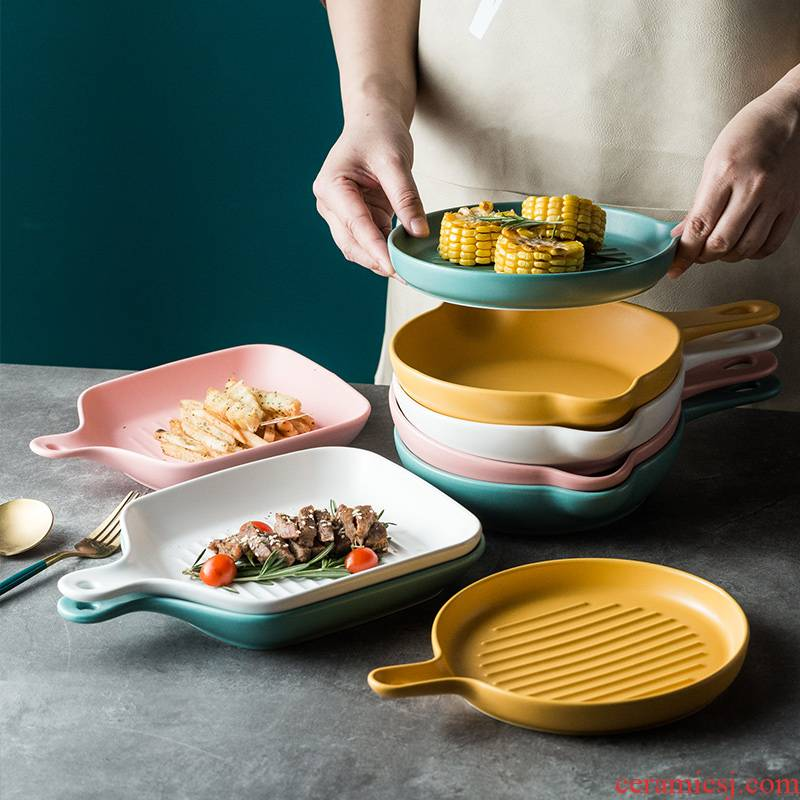 The Nordic idea web celebrity oven for baking plate ceramic household with handle western Japanese tableware food dish