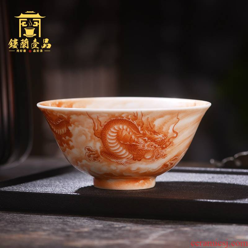 Jane hall alum spill red dragon playing bead master cup of jingdezhen ceramic hand - made single CPU kung fu tea set personal tea cup