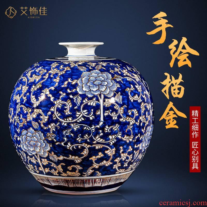 Jingdezhen ceramic paint hand - made large blue and white porcelain vase new Chinese flower arranging office sitting room key-2 luxury decoration