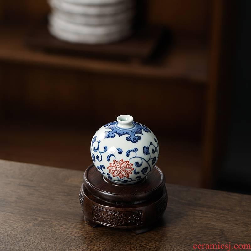 Furnishing articles base solid wood bracket flowerpot vase, the teapot stone, fish tank censer Buddha red wooden circular base