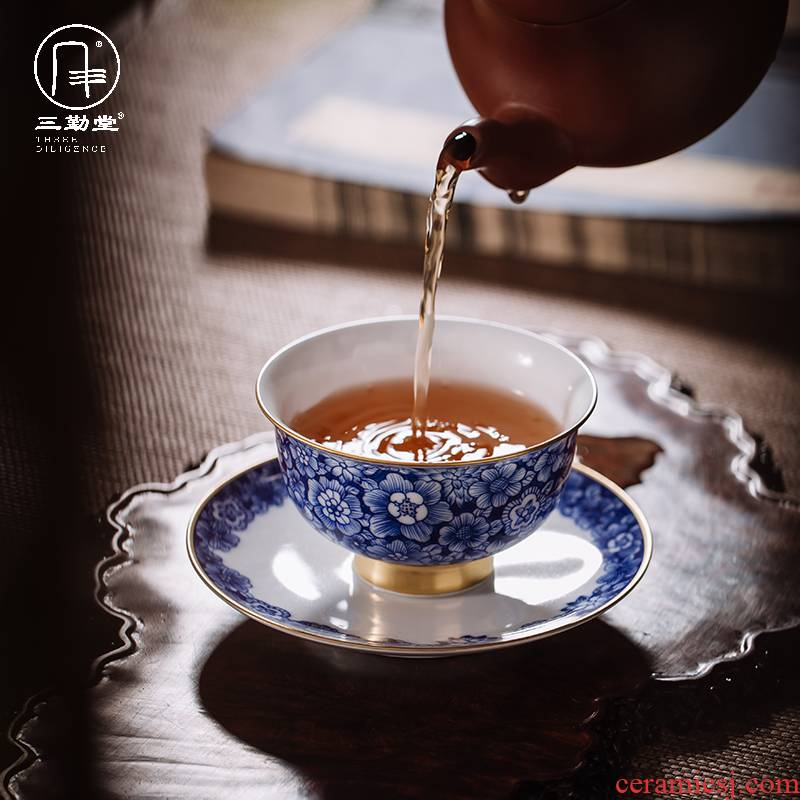 Three frequently hall hand - made of blue and white porcelain tea cups of jingdezhen ceramic sample tea cup kung fu masters cup but small fullness tea cups