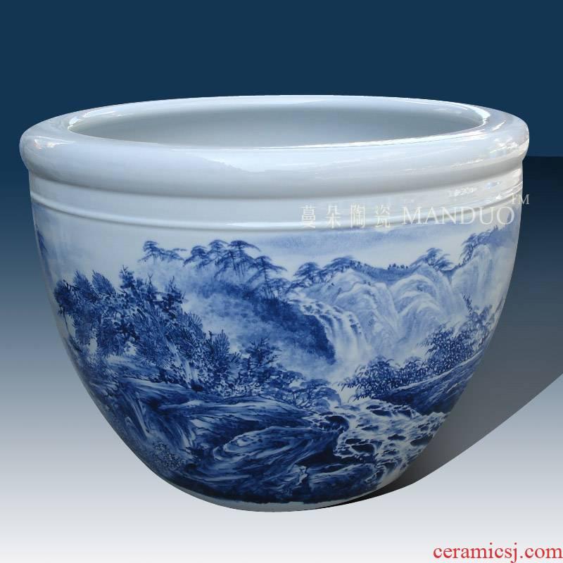 Jingdezhen blue and white porcelain hand - made porcelain VAT elegant key-2 luxury furnishings big study fine ceramic cylinder cylinder