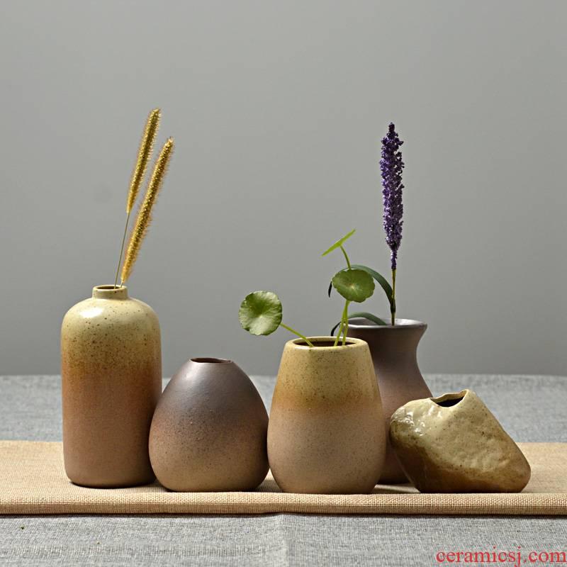 Creative floret bottle ceramic mini POTS coarse pottery hydroponic plant dried flower arranging flowers sitting room place, home decoration