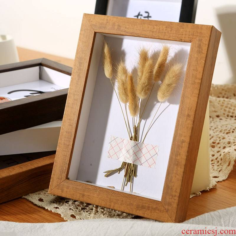 Hollow three - dimensional frame creative diy craft gift paper soft pottery clay specimens of dried flowers 6 six A3a4 7 inch frame