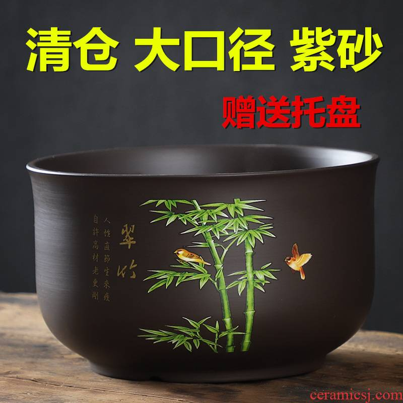 Large diameter bonsai pot purple sand pottery and porcelain flowerpot coarse pottery breathable with tray was special offer a clearance of Large - sized orchid flower POTS