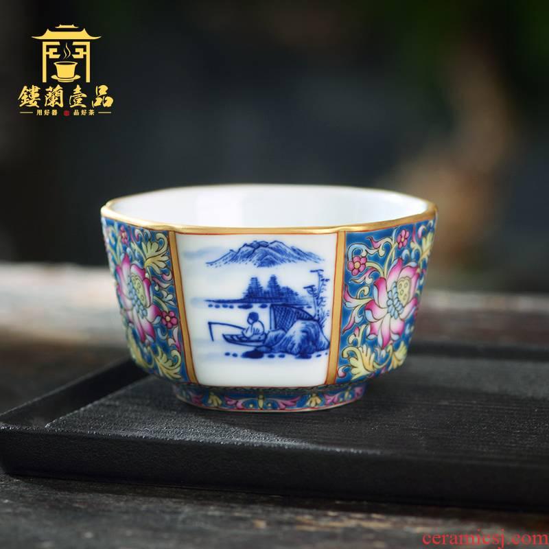 All hand - made colored enamel porcelain of jingdezhen ceramics landscape the six - party cup kunfu tea, tea cup of individual single CPU