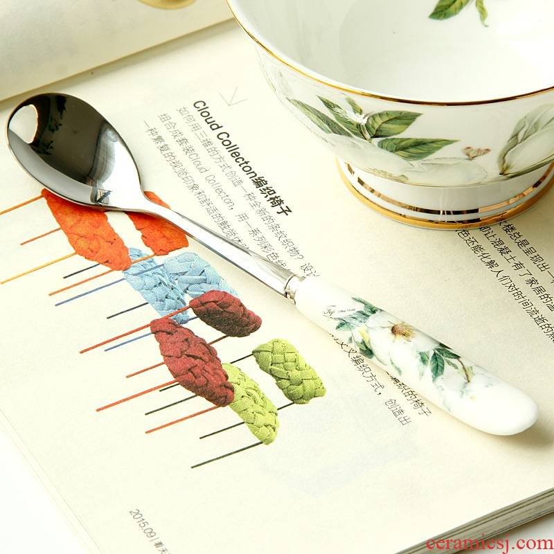 Qiao mu 【 】 【 tea service of form a complete set of coffee spoon 】 han edition ipads porcelain ceramic small coffee spoon, spoon, cream run out