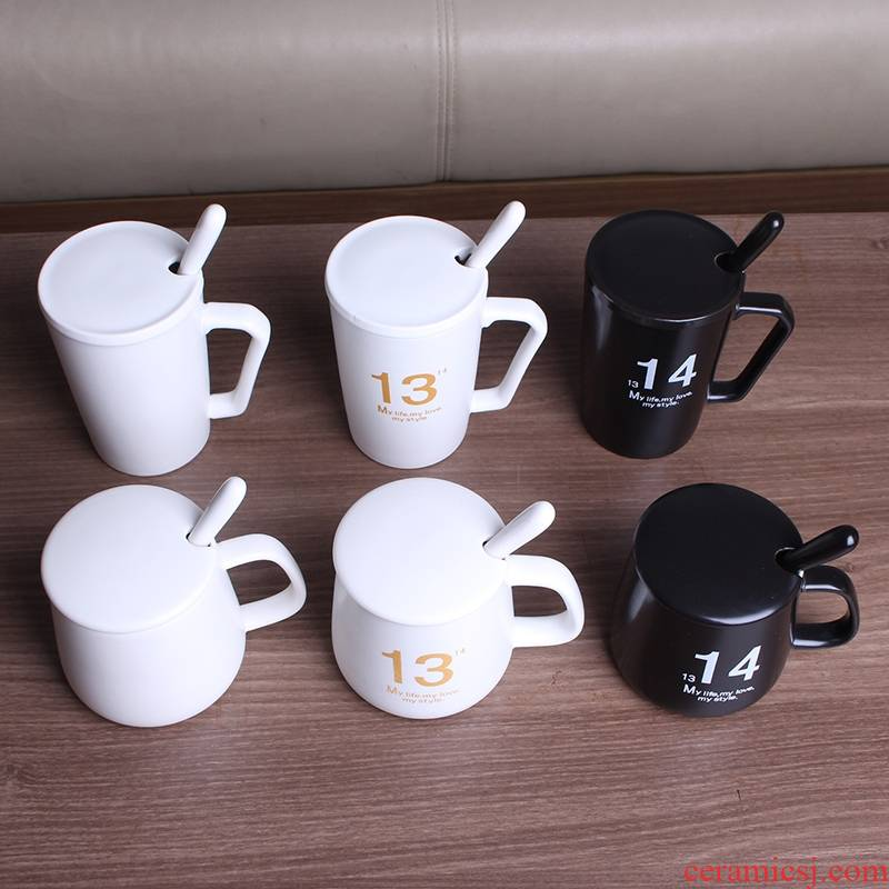 Qiao mu household ceramic water glass mugs family ultimately responds the cup suit the parent - child milk coffee cup