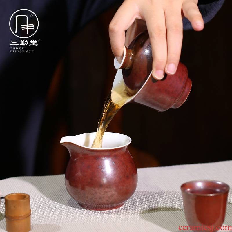 Three frequently hall tea set kung fu tea set household contracted cup 6 pack of jingdezhen ceramic ji red tea in the afternoon