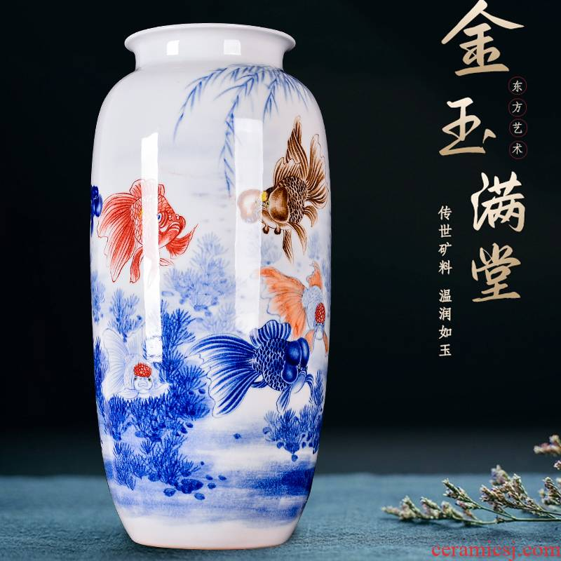 Jingdezhen ceramics hand - made vases and flower arranging place of new Chinese style household to decorate the living room TV cabinet