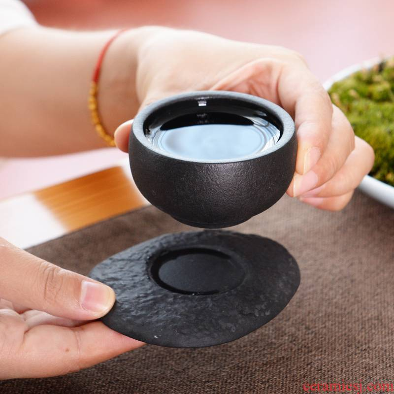 Japanese coarse pottery checking tea cup lava rock - coasters ceramic cup sample tea cup hat to individual CPU master CPU
