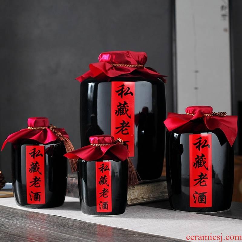 Longed for restoring ancient ways opportunely sharply black glaze ceramic bottle 1 catty 2 jins of 3 kg 5 jins of 10 jins empty jar sealing reserve wine