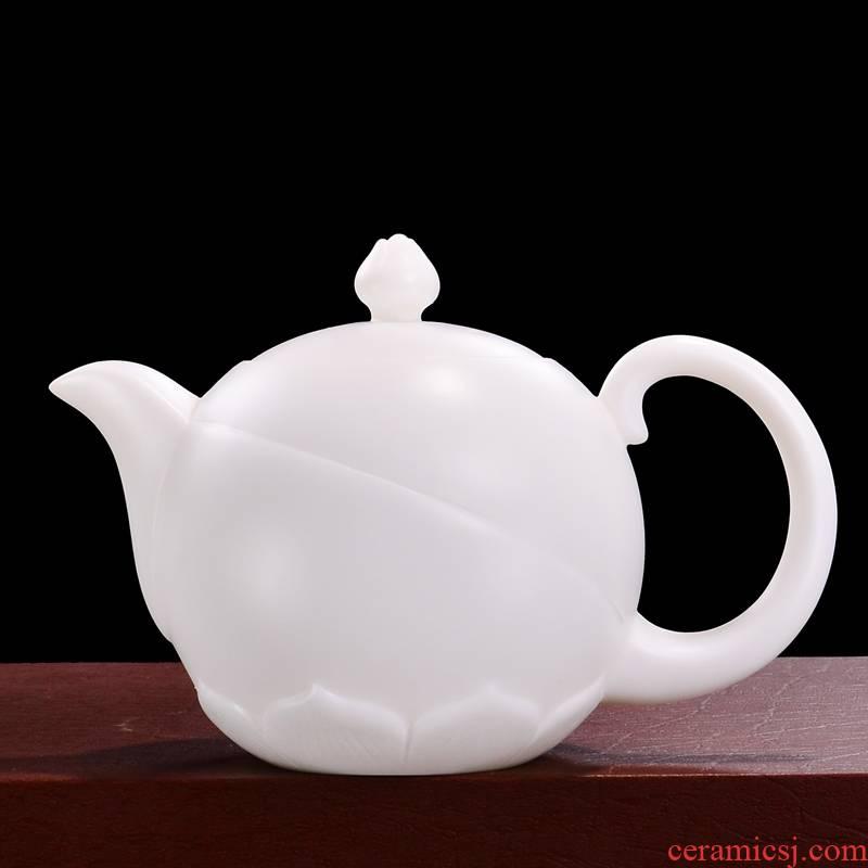 Qiao mu dehua white porcelain teapot Lin, Dongxiang, manually signed teapot suet jade porcelain tea, kungfu tea set ceramic pot