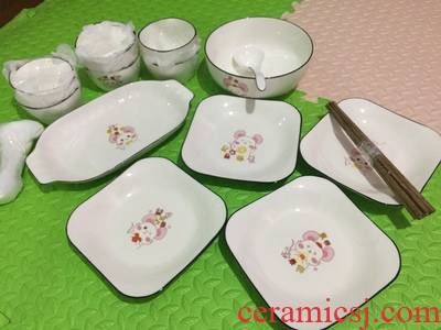 Dishes suit web celebrity 4 ins wind household ceramics tableware set bowl plate combination contracted cartoon creative f rat