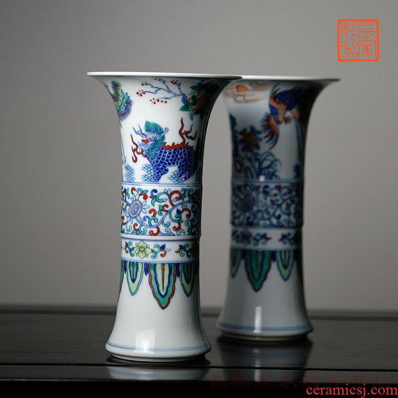 Long up controller hand - made color bucket FeiFeng kirin flower vase with jingdezhen manual archaize ceramic vases, home furnishing articles