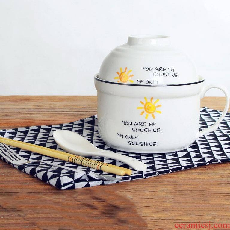 Ceramic bowl with rice bowl, lovely work ideas Korean students individual contracted with cover good move