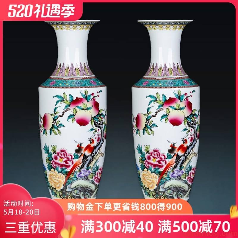 Jingdezhen ceramic famille rose high landing big vase large sitting room of Chinese style household adornment handicraft furnishing articles arranging flowers