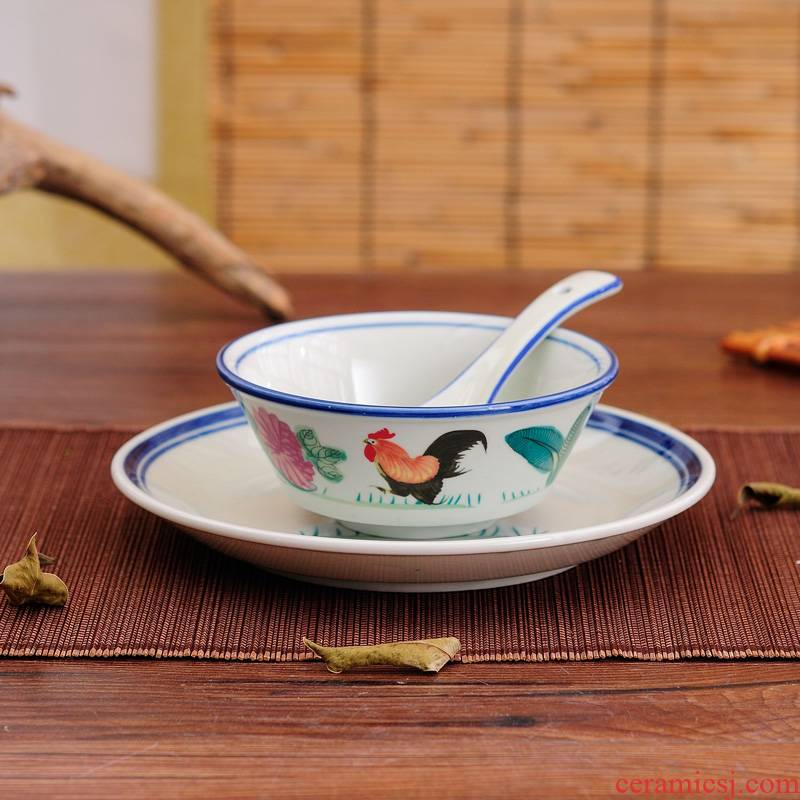 The rooster ceramic hotel supplies bowl which suits for Chinese style hotel restaurant chain table tableware 4 times