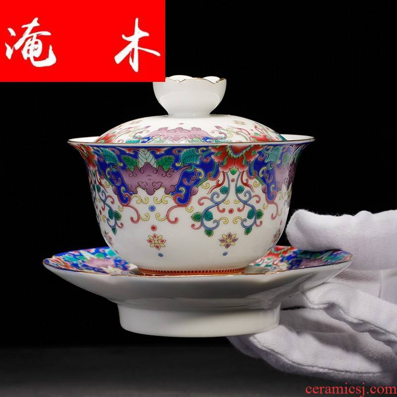 Submerged wood only three tureen ceramic cups jingdezhen blue and white five blessings flower tea bowl colored enamel kung fu