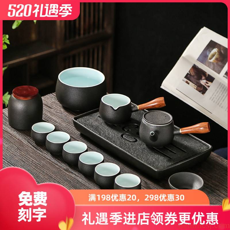 Japanese light key-2 luxury black pottery teapot tea side suit household contracted sitting room ceramics kung fu tea cups high - end gifts
