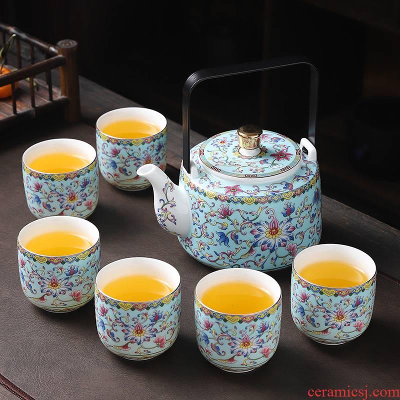 Jingdezhen ceramic tea set a pot of six cups of Chinese style household enamel girder pot cup teapot sitting room