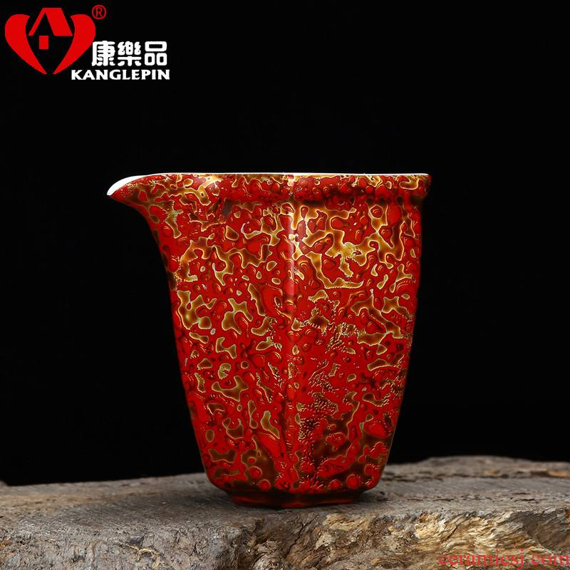 Recreation article 9.4 cm high, 8.7 cm wide Chinese lacquer rhinoceros leather lacquer tea white porcelain Angle of lu tea fair keller points
