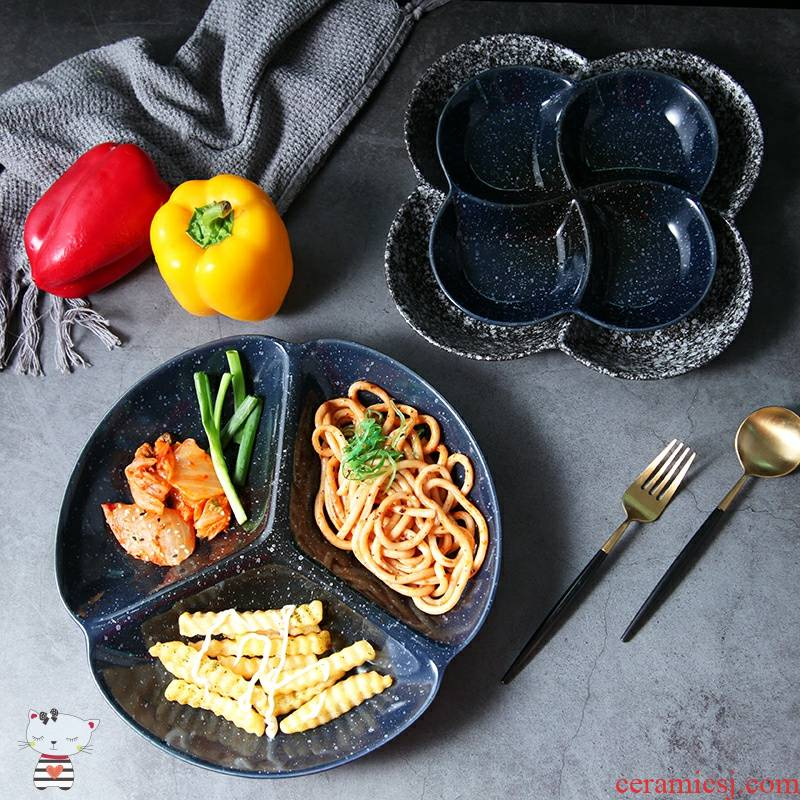 As Japanese frame plates reduced fat fitness meal ceramic household food dish space tableware adults eating breakfast