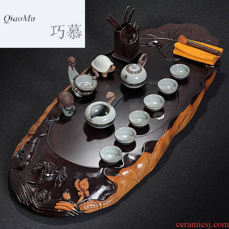 Qiao mu block diagonally ebony wood tea tray is a complete set of violet arenaceous kung fu tea set household contracted tea table elder brother up