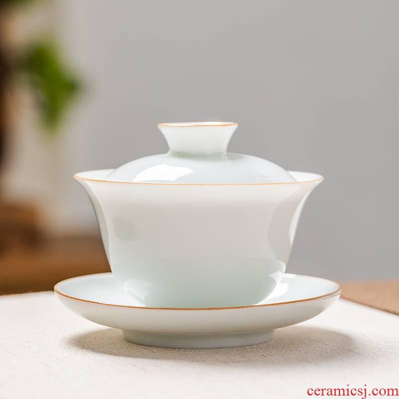 Thin foetus sweet white porcelain three just tureen not hot suet jade belt cover tea cup single master cup of jingdezhen ceramics