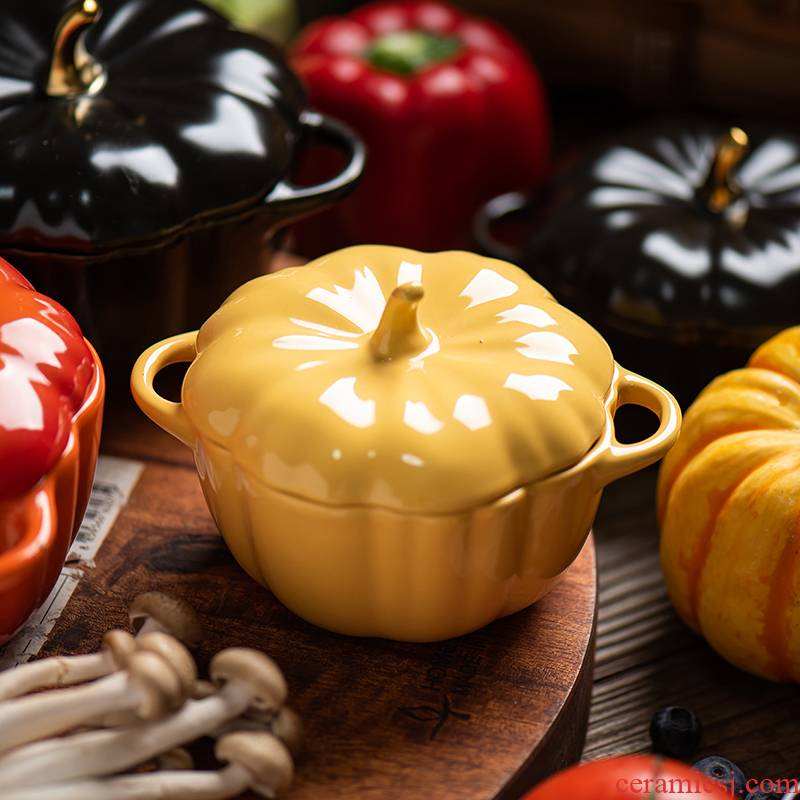 Ins Nordic creative hand - made pumpkin with cover bake bake rainbow such as bowl bowl tableware ceramics dessert soup bowl water stew
