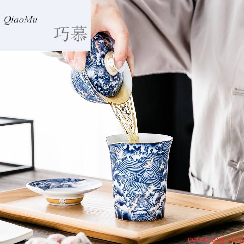 Qiao mu of jingdezhen blue and white porcelain tea tureen large for ceramic kung fu tea set three to toast bowl bowl is not hot
