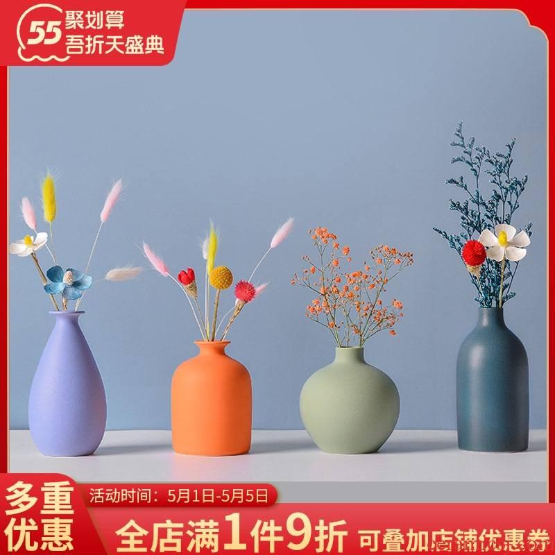 Floret bottle sitting room adornment is placed morandi ceramic vases, TV ark, dried flower receptacle northern wind creative decorations