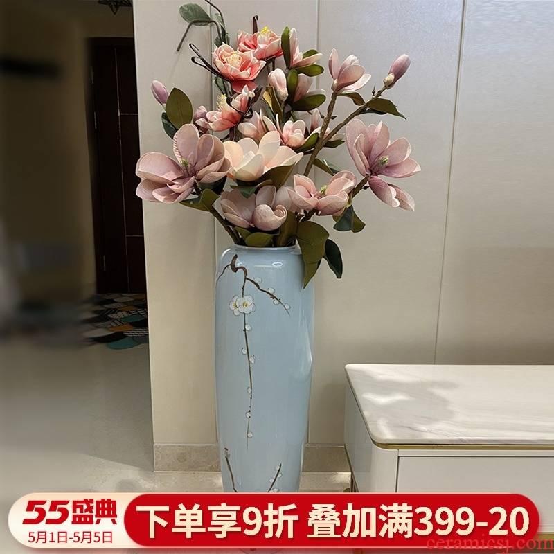 Jingdezhen ceramic floor big vase furnishing articles simulation flower arranging flowers sitting room hotel new Chinese modern light key-2 luxury decoration