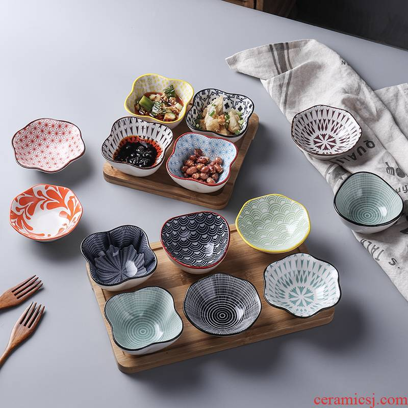 Japanese ceramics home dumplings taste dishes dip dishes snacks side dish chafing dish bowl of soy sauce dish.