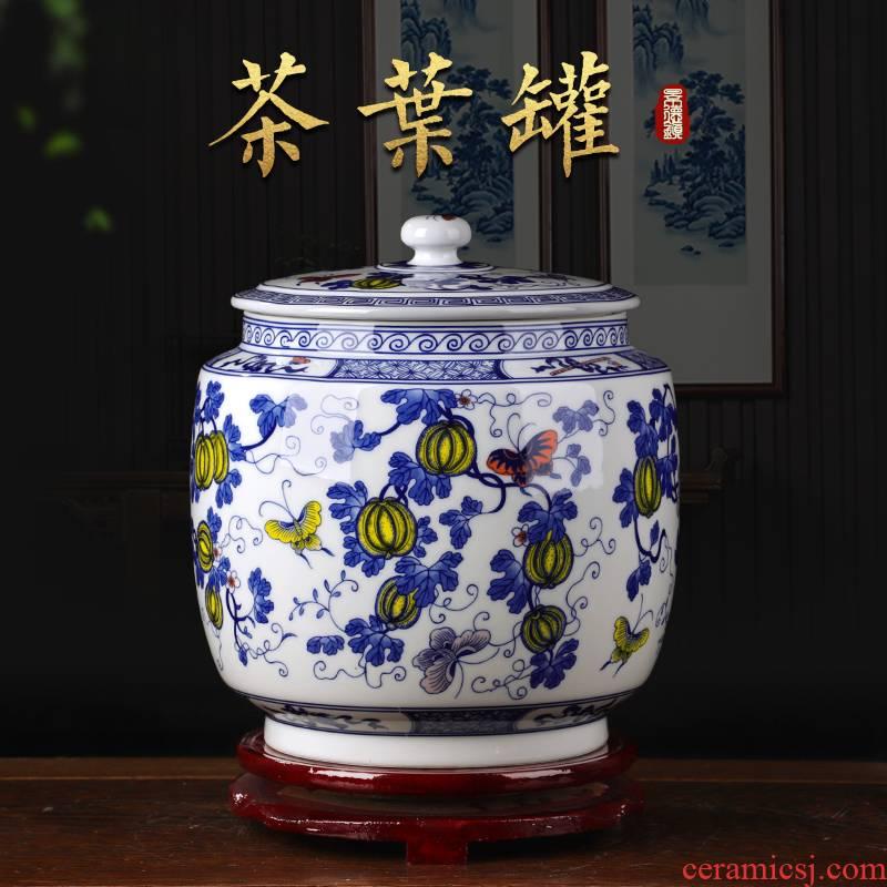 Jingdezhen ceramics antique blue and white porcelain tea storage jar snacks kitchen furnishing articles of Chinese style living room decoration