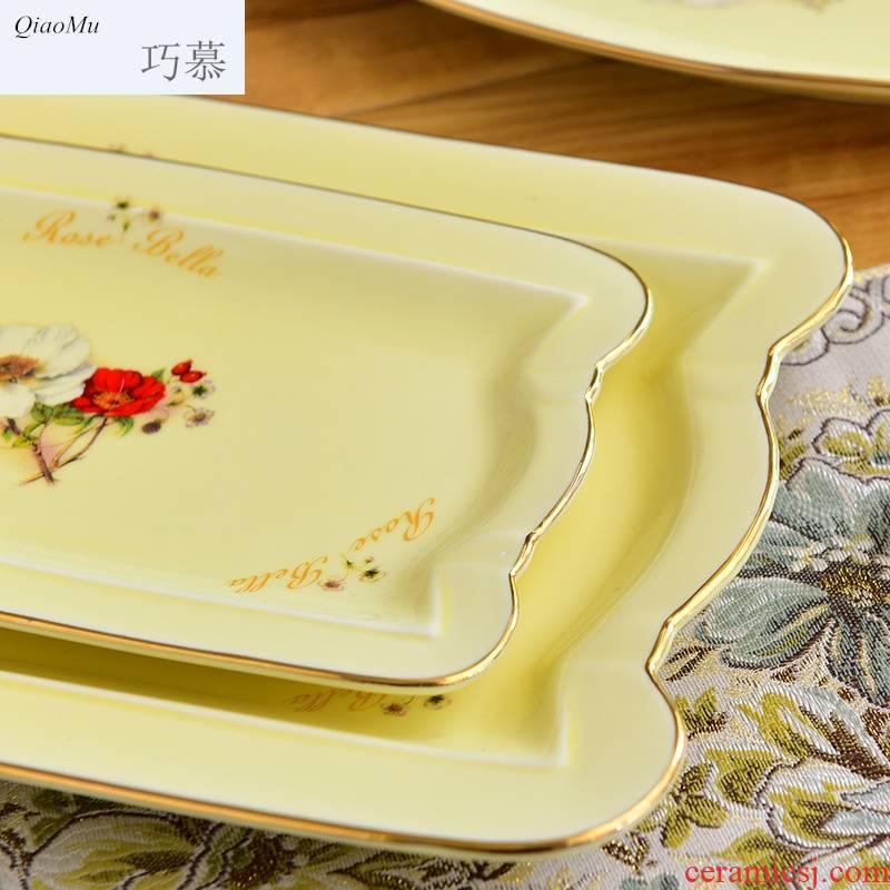 Qiao mu European new ceramic tableware disc creative household elliptical rectangle up phnom penh hotel sets group
