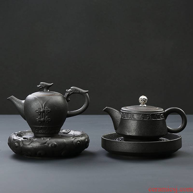 Qiao MuChan wind black pottery teapot with pot bearing kung fu tea set manual coarse clay POTS filter ceramic home office