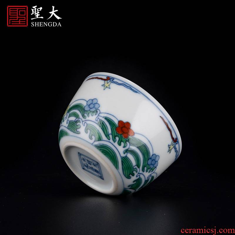 Holy big porcelain doucai bucket color out of the water lines lie fa cup jingdezhen high - grade tea kungfu tea cups