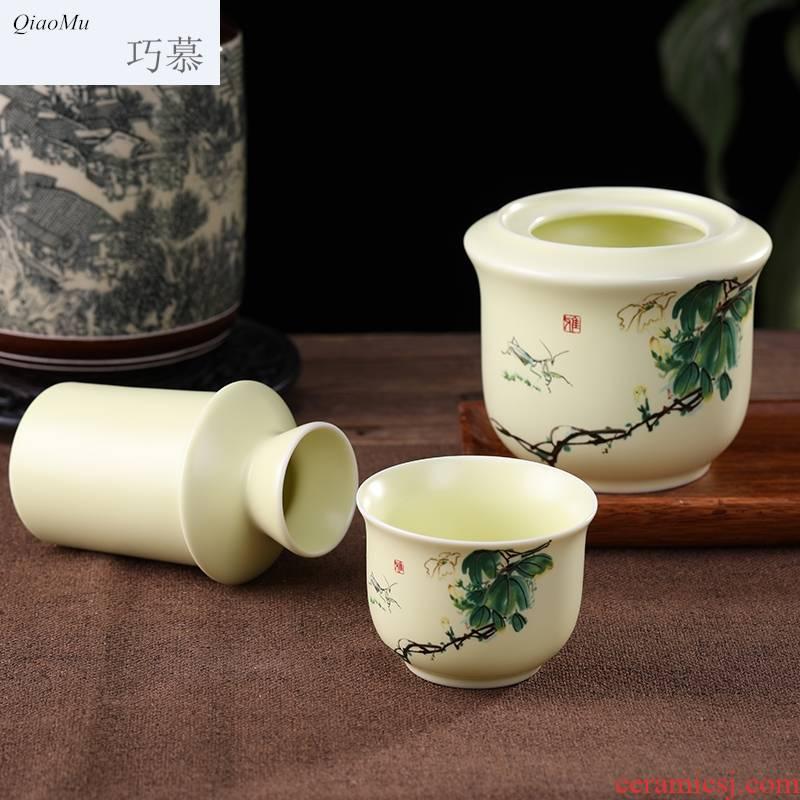 Qiao mu ceramic temperature wine pot rice wine liquor Japanese household retro hot hip two three temperature wine warm wine