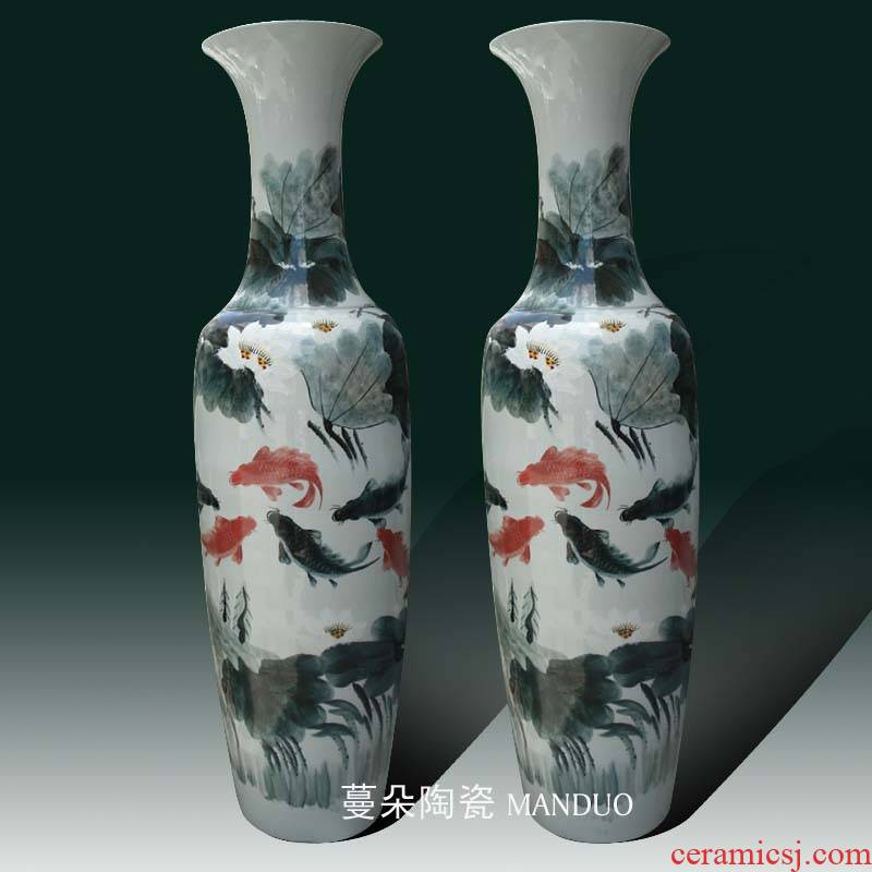 Jingdezhen hand - made years wining the French vase presented the opening a large vase 1.6 meters 1.8 meters tall