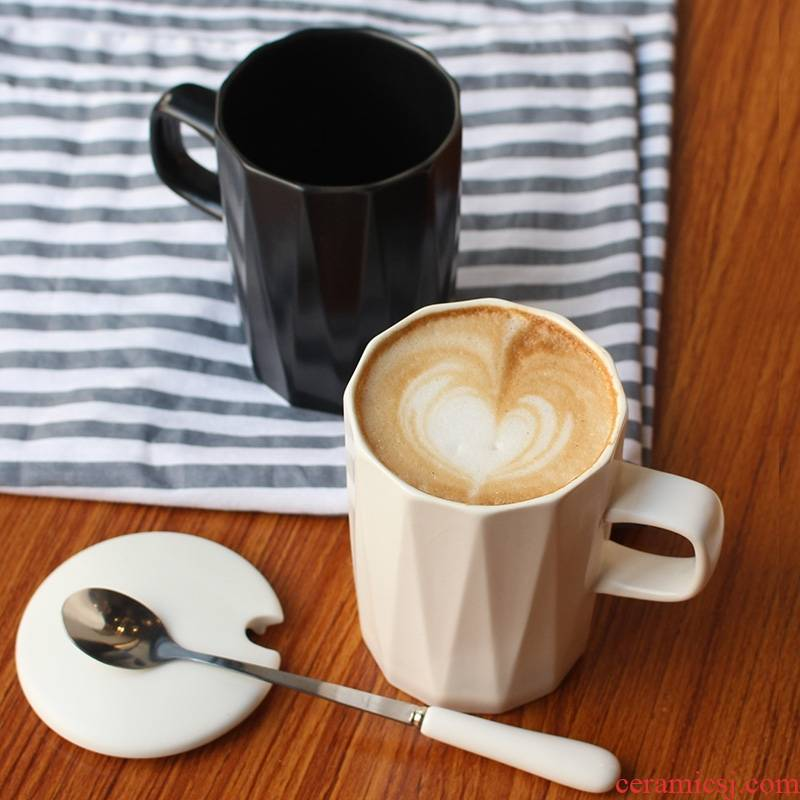 Qiao mu ins Nordic contracted ceramic mark cup, coffee cup with cover spoon couples home office men and to ultimately responds