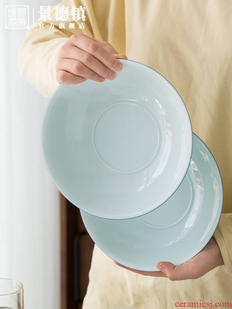 Jingdezhen flagship shops eat with ceramic checking shadow the qing 8 inch soup plate plate deep dish household circular plate