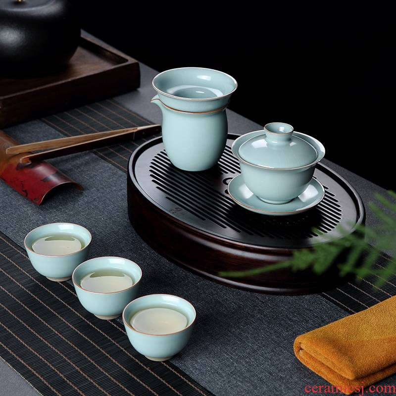 Your up with jingdezhen ceramic travel tea set small suit portable ice crack kung fu tea cup tea tray lid bowl