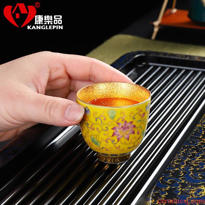 Recreational product court enamel color gold wind small ceramic cups of tea light sample tea cup master cup kung fu tea cup home