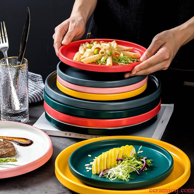 Web celebrity dish dish dish creative Nordic ceramic tableware circular tray is household steak dinner plate cutlery set